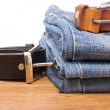 Stock Photo: Jeans with belt