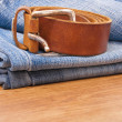 Jeans with belt — Stock Photo