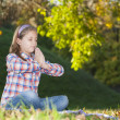 Cute little girl meditates — Stock Photo