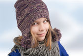 Girl with winter hat — Stock Photo
