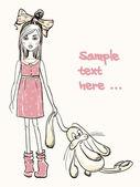 Little girl with rabbit — Stock Vector