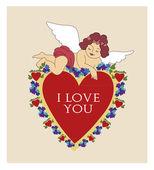 Valentine angel — Stock Vector