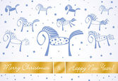 Merry christmas and happy new year horses card 2014 — Stock Vector
