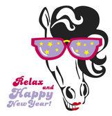 Rolig häst med solglasögon — Stockvektor
