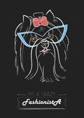 Yorkshire terrier fashionista — Vector de stock