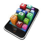 Tablet with App Icons - isolated on white — Stock Photo