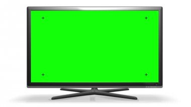 Flat TV Screen - Green screen Track marks Alpha channel — Stock Video