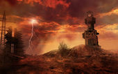 Apocalyptic landscape with clock tower — Stock Photo