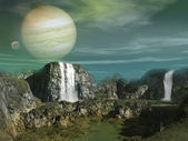 Waterfall on an alien planet — Stock Photo