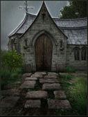 Old church in the rain — Stock Photo