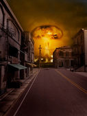 Nuclear explosion near the town — Stock Photo