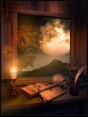 Sala de leitura no luar — Foto Stock