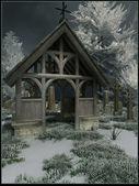 Cemetery gate in winter — Stock Photo