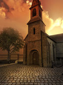 Church in sunset light — Stock Photo