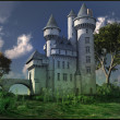 Gothic castle on a green meadow — Stock Photo