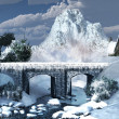 Ice-covered bridge — Stock Photo