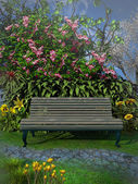 Bench under a blooming tree — Stock Photo
