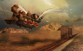 Flying locomotive — Stock Photo