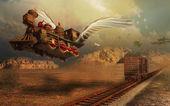 Vliegende locomotief — Stockfoto