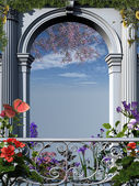 Roman flowery arch — Stock Photo