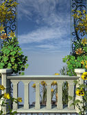 Stone fence with yellow flowers — Stock Photo