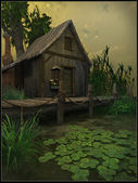 Cottage on a swamp — Stock Photo