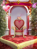 Heart shaped red chair — Stock Photo