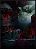 Volle maan en een vliegende vleermuis — Stockfoto