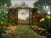Poort naar magische tuin — Stockfoto