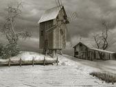 Starý dřevěný větrný mlýn — Stock fotografie