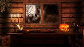 Halloween in der alten Hütte — Stockfoto