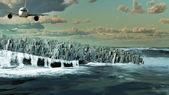 Ville se noyer dans l'océan — Photo