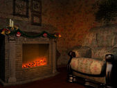 Room with Christmas fireplace — Stockfoto