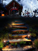 Old crypt in the halloween night — Stock Photo