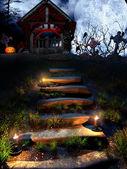 Stare krypty w noc halloween — Zdjęcie stockowe