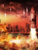 Los cohetes y fuego — Foto de Stock