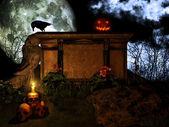 Jack o lantern på sten altare — Stockfoto