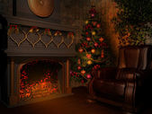 Room with fireplace — Stock Photo