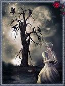 девочка и дерево — Стоковое фото