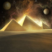 Storm over pyramids — Stock Photo