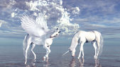 Unicorn and pegasus — Stock Photo