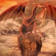 Red dragon on top of a rock — Stock Photo