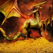 Red dragon on a pile of gold — Stock Photo