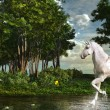 Unicorn in a magic forest — Stock Photo