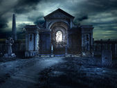 Cementery crypt at night — Stock Photo