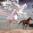 Stock Photo: Pegasus and horses