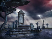Lonely grave in the old cemetery — Stock Photo