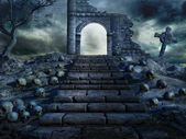 Stairs to the ruined temple — Stock Photo