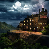 Full moon over an old building — Stock Photo