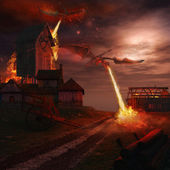 Dragons attacking wooden windmill — Foto Stock